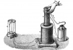 Faraday's discovery of electromagnetic induction.  Moving a magnet in and out of a coil of wire induces an alternating current. Source: see below.